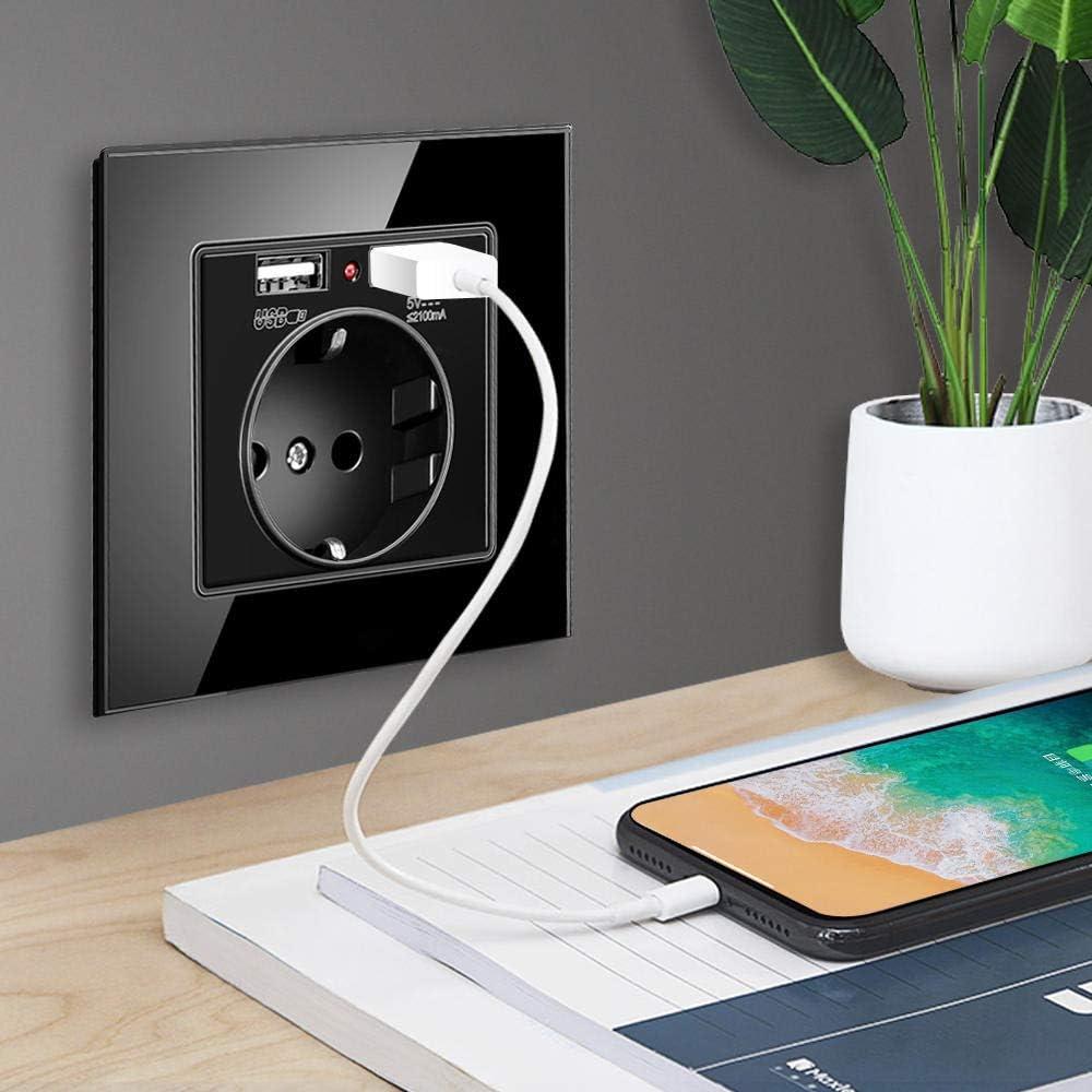Toma de corriente el/éctrica est/ándar 86 Toma USB-01/_110-250V toma con dos puertos USB Panel de cristal blanco//negro//dorado 86