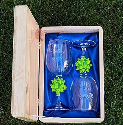 Copas DE Vino Personalizadas con Caja Madera: Amazon.es: Hogar