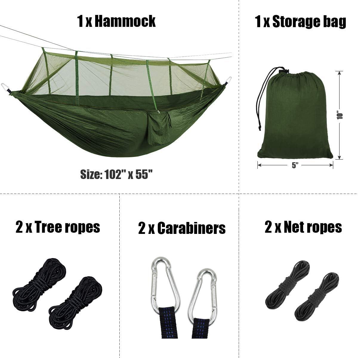 Backpacking Beach Travel Grassman Bug Net Camping Hammock Single Camping Hammock with Tree Ropes Portable Parachute Nylon Hammock for Indoor and Outdoor Camping Hiking