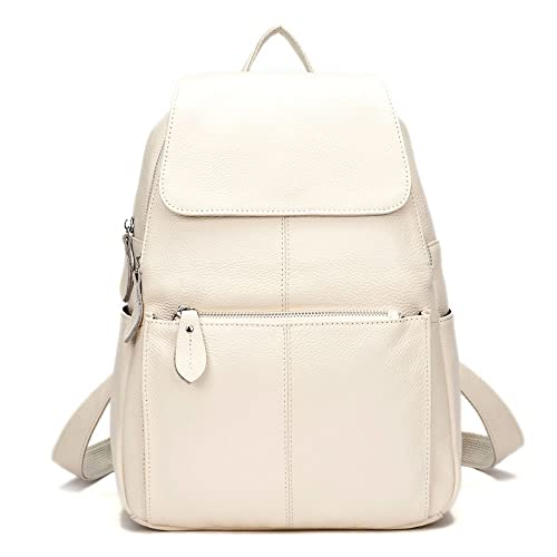 1240db29d418 Amazon.com  15 Colors Real Soft Leather Women Backpack Fashion Ladies  Travel Bag Preppy Style Schoolbags For Girls (Beige)  Shoes