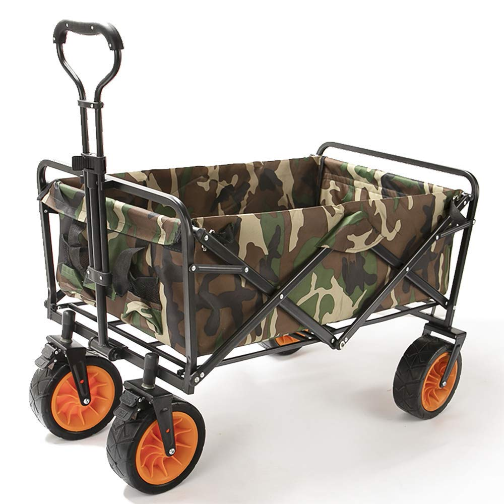 Li hand-trucks LWOO Folding Garden Cart Beach Shopping Cart/Mass Storage/Widening Tire + Brake/Load: 80 Kg/Army Camouflage (Color : Army Camouflage) by Li hand-trucks