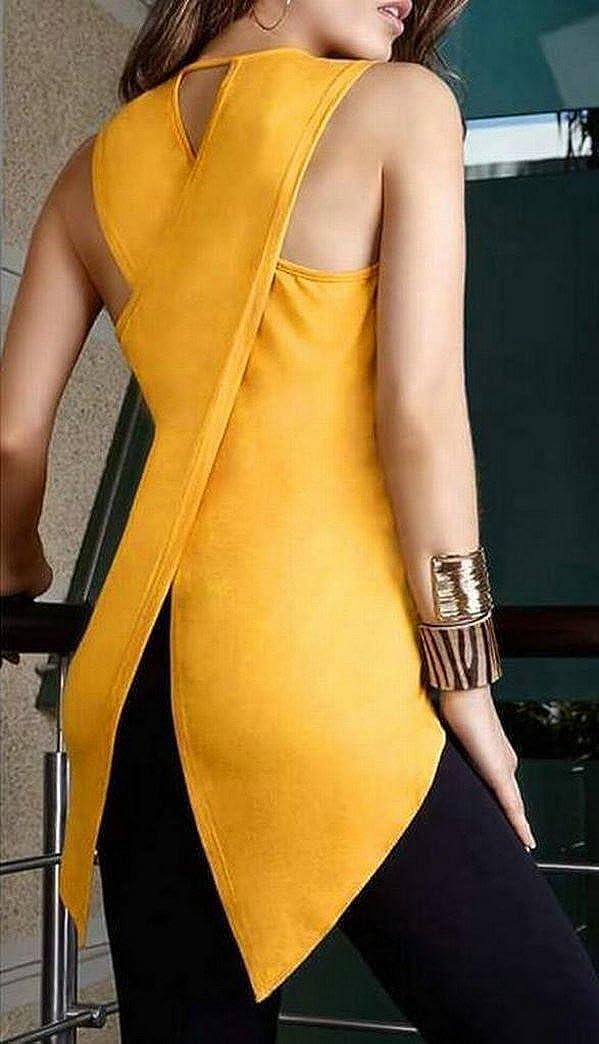 LD Womens Summer Back Cross Sleeveless Solid Tank T-Shirt Blouse Top