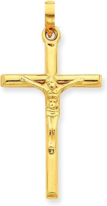 14k or Jaune INRI Jésus Crucifix Pendentif Croix 1.75 in de long environ 4.44 cm