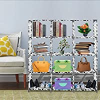 Non-Woven Adjustable 4-Tier Bookshelf with 12 Shelves for Living Room Bedroom Kids Room(US Stock)