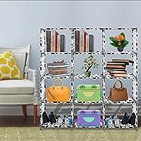 Non-Woven Adjustable 4-Tier Bookshelf with 12 Shelves for Living Room Bedroom Kids Room(US Stock)