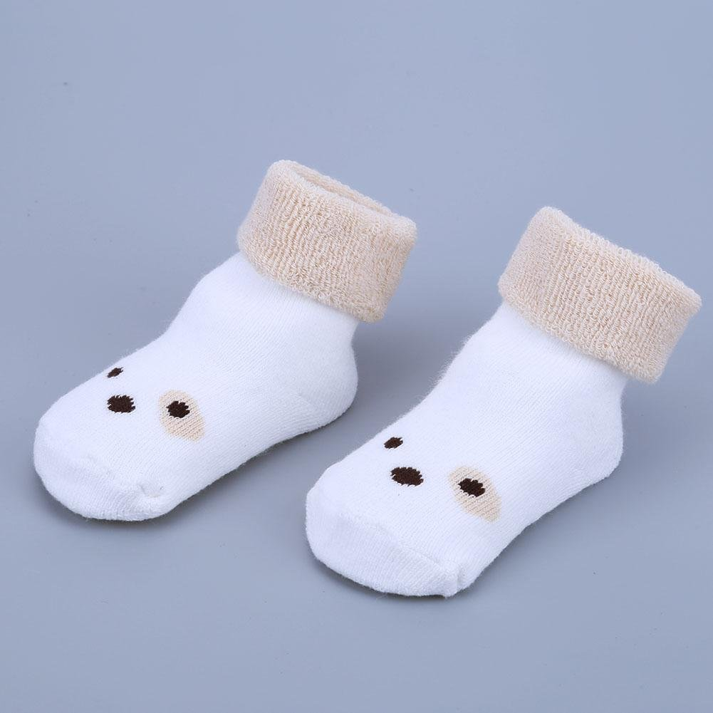 Chiantera One Pair Unisex Baby Winter Non-Slip Socks Infant Thick Cotton Printed Socks