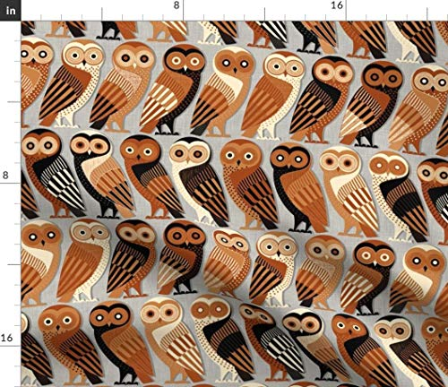 (Owls Fabric - Owl Ancient Greek Art Animals Birds Owls Birds Animals Greek Terracotta Greece Greek Art by Spellstone Printed on Linen Cotton Canvas Ultra Fabric by The Yard)