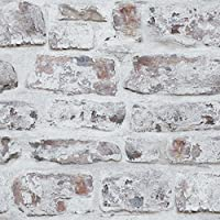 Arthouse White Washed Brick Realistic Wallpaper Modern Home Décor