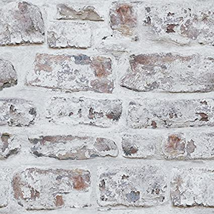 Amazon.com: Arthouse White Washed Brick Realistic Wallpaper Modern Home  Décor: Home U0026 Kitchen