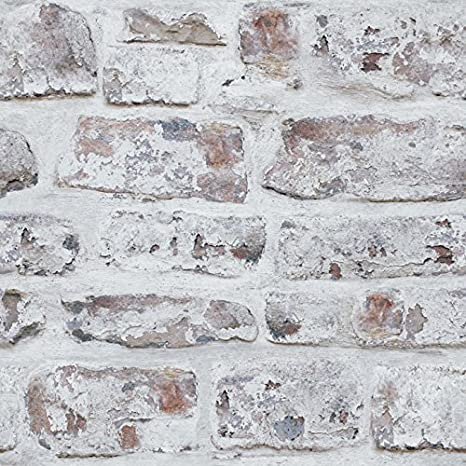 Arthouse White Washed Brick Realistic Wallpaper Modern Home Decor