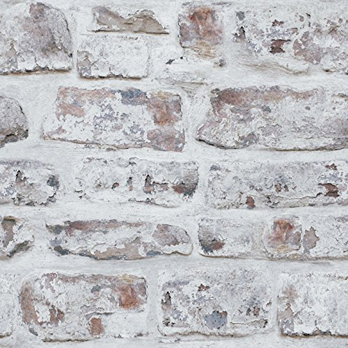 Arthouse White Washed Brick Realistic Wallpaper, Modern Home ()