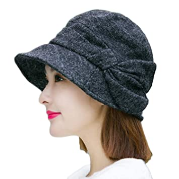 ITODA Ladies Knitted Beret Thermal Fashion Wool Blend Beanies Elegant  Bowknot Cloche Hat Soft Casual Cozy e1c05ebb439d