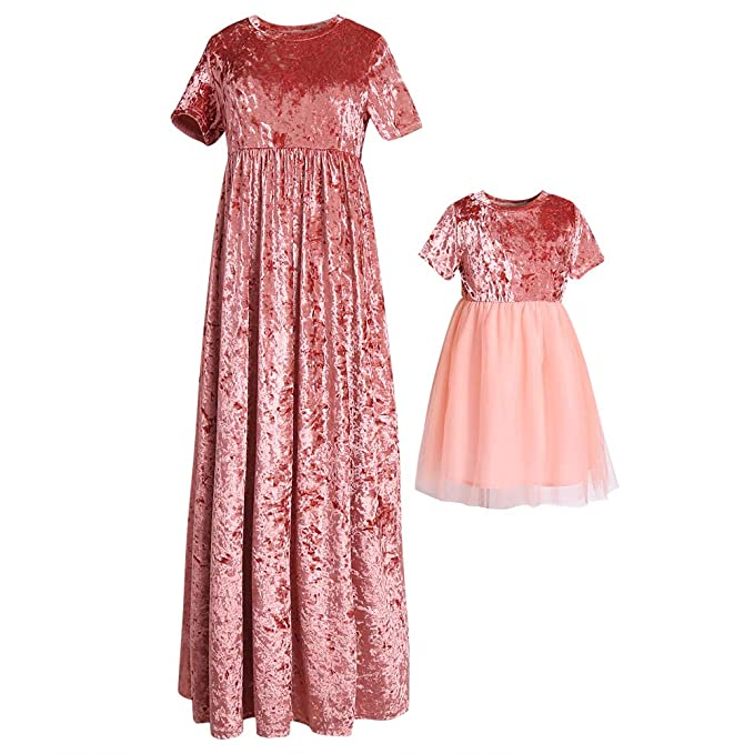4832307b30 Amazon.com: PopReal Mommy and Me Short Sleeve Velvet Tulle Matching ...