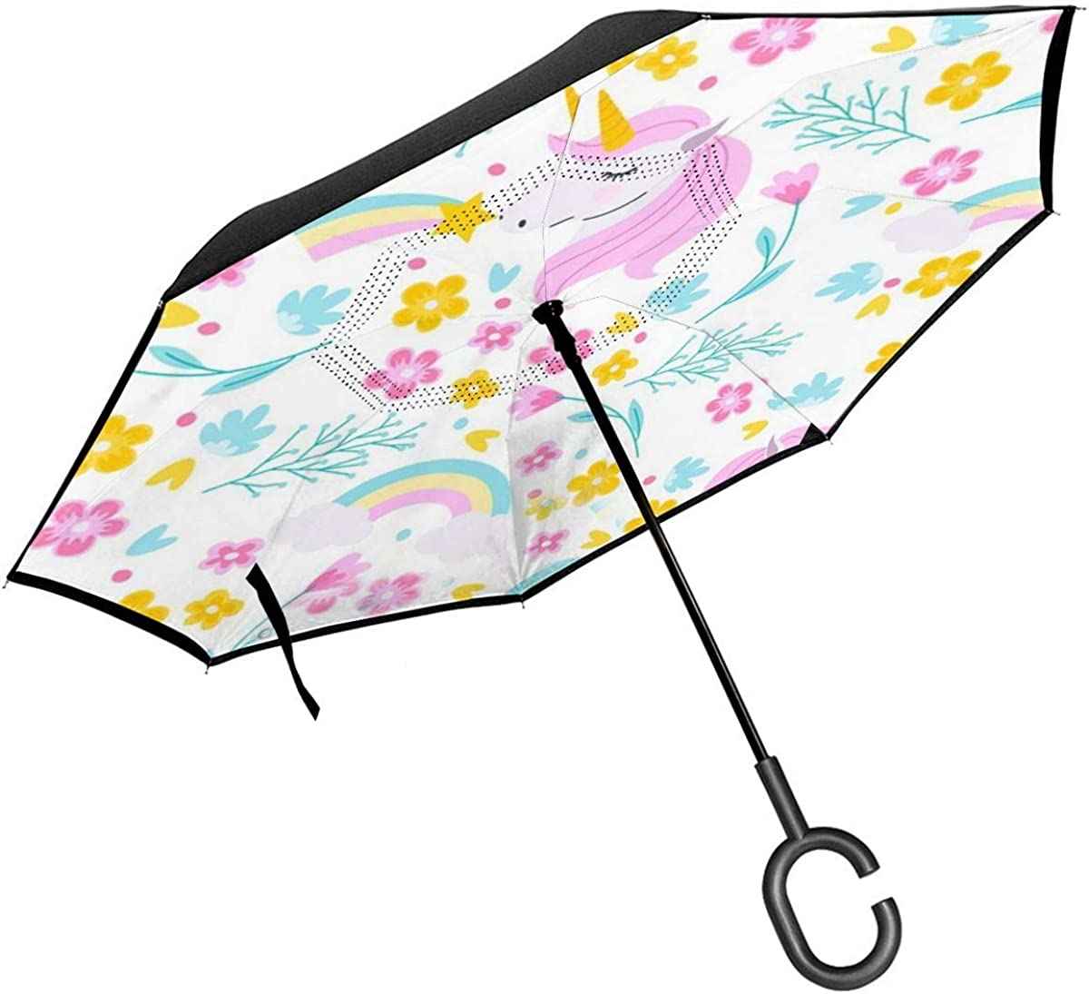 Flat Unicorn Pattern Reverse Umbrella Double Layer Inverted Umbrellas For Car Rain Outdoor With C-Shaped Handle Personalized