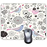 Cartoon Painting Bird Singing Birdie Background Mouse Pad Oblong Shaped Mouse Mat Design Natural Eco Rubber Durable Computer Desk Stationery Accessories Mouse Pads For Gift Support