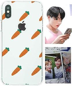 BTS Phone Case Clear Silicone + Photocard iPhone X/XS, XS Max, XR, 8/7, 8 Plus/7 Plus, 6/6S, 6 Plus, 11, 11 Pro, 11 Pro Max, 12/12 Pro, 12 Pro Max Cute Carrot Pattern(iPhone 8 Plus/ 7 Plus)