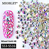 3d crystal gems - MIOBLET Mix Sizes 800PCS SS3-SS16 AB Gold Bottom Non Hotfix Flatback Rhinestones Crystal Nail Rhinestones DMC For Nails 3D Nail Art Decoration Gems Manicure DIY Accessories