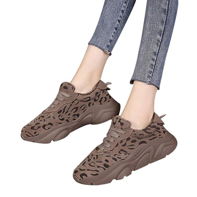 JiaMeng Zapatillas de Deporte de Moda con Estampado de Leopardo cálido, Zapatillas Deportivas con Punta Redonda Cómodos Transpirables Zapatos: Amazon.es: ...
