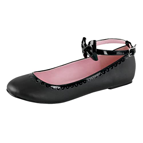 8a9fcd3b573 Summitfashions Womens Ankle Strap Flats Studded Bow Scalloped Trim Black  Vegan Leather Shoes Size  5