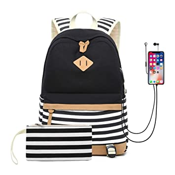Mochilas Portatil 15.6 Pulgadas, Mochila Lona Mujer Casual Mochilas Escolares Juveniles con Puerto USB y para Auriculares Multifuncional Daypacks para ...