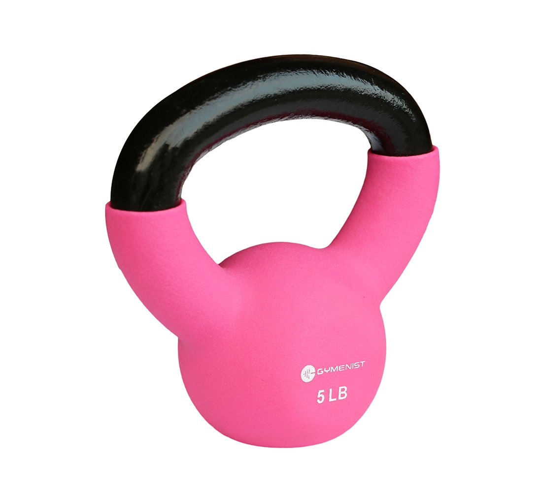 GYMENIST Kettlebell Fitness Iron Weights with Neoprene Coating Around The Bottom Half of The Metal Kettle Bell (5 LB)