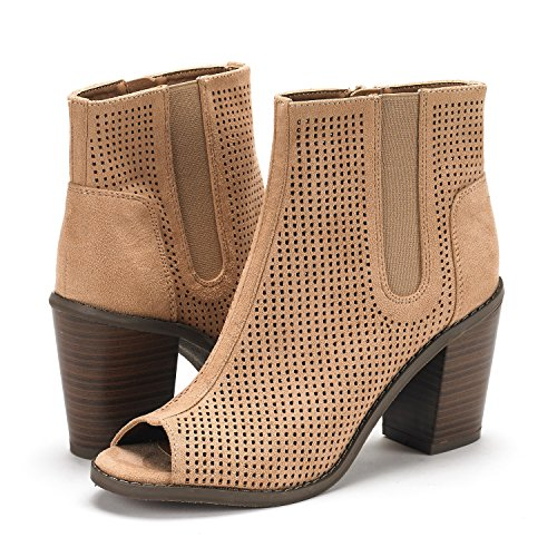 DREAM PAIRS Damen Blockabsatz Ankle Booties Nackt
