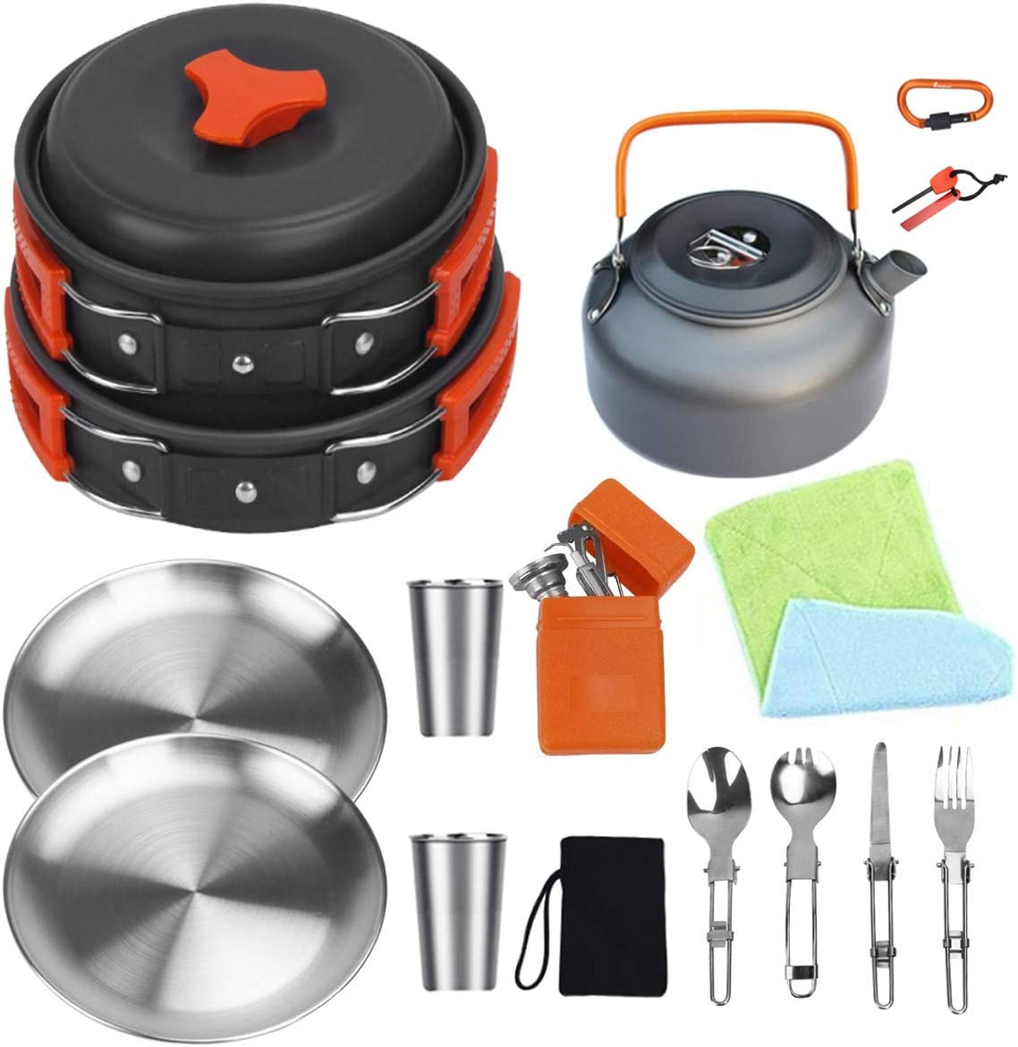 Bisgear Camping Cookware Kettle Pot Pan Mess Kit Stainless Steel Cup Plates Utensil Backpacking Gear Bug Out Bag Cooking Equipment Picnic Cookset Carabiner /& Fire Starter for 2 Person