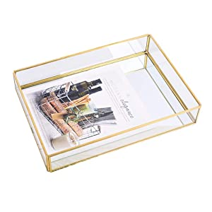 """Sooyee Gold Tray Mirror, Rectangle Mirror Tray can Hold Perfume, Jewelry, Cosmetics, Makeup, Magazine and More,Decorative Tray for Vanity,Dresser,Bathroom,Bedroom(12""""x8 x2)"""