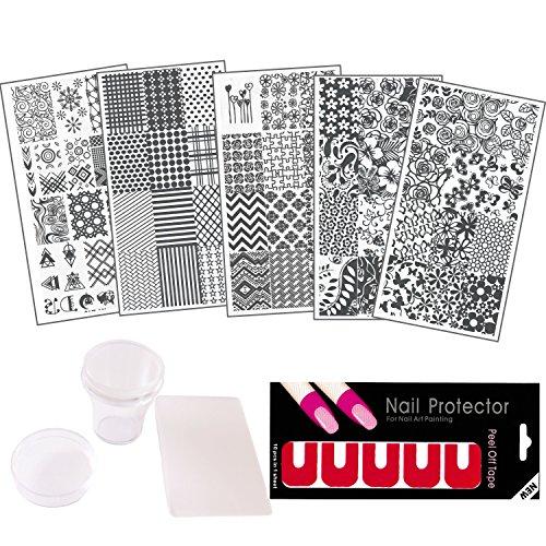 (NAILDROBE 8pc Nail Art Stamping Kit (Includes 5 plates, stamper, scraper, latex nail protector tape))