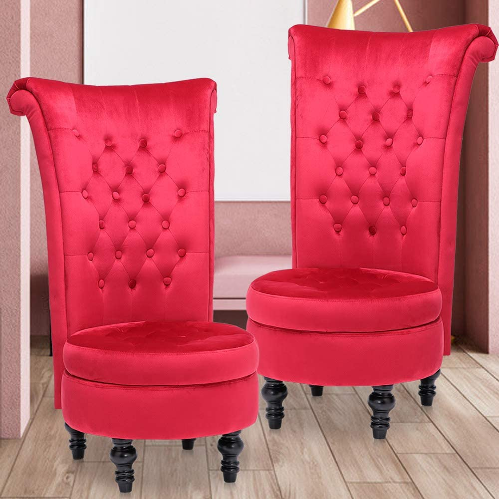 High Back Accent Chair Set of 2, Throne Chair Velvet Chair with Storage for Bedroom Living Room Dressing Table Seat Wood Legs (Red #2 PCS)