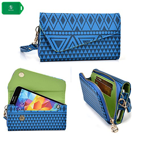 NEVISS TM Cellphone holder clutch with bonus wristlet strap & crossbody chain   aztec design in blue universal design fits Virgin Mobile ZTE Awe Prepaid Smartphone