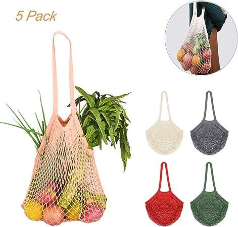 5 Bolsa Red Malla Cestas de la compra con Asa Larga para Llevar al Hombro, Creatiees Bolsa para la Compra Reutilizables totalizador de las compras de la secuencia del algodón orgánico(5 Colores):
