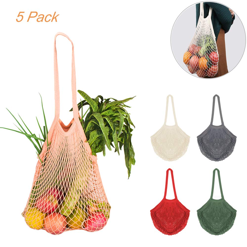 5Pcs Net Cotton String Shopping Bag, Creatiee Reusable Mesh Market Tote Organizer for Grocery Shopper Produce Storage Beach Toys Fruit Vegetable – Less Plastic(5 Colors)