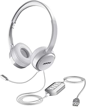Phone Call Center Business Headset for Skype Mpow 071 USB Headset// 3.5mm Computer Headset with Microphone Noise Cancelling Webinar Lightweight PC Headset Wired Headphones
