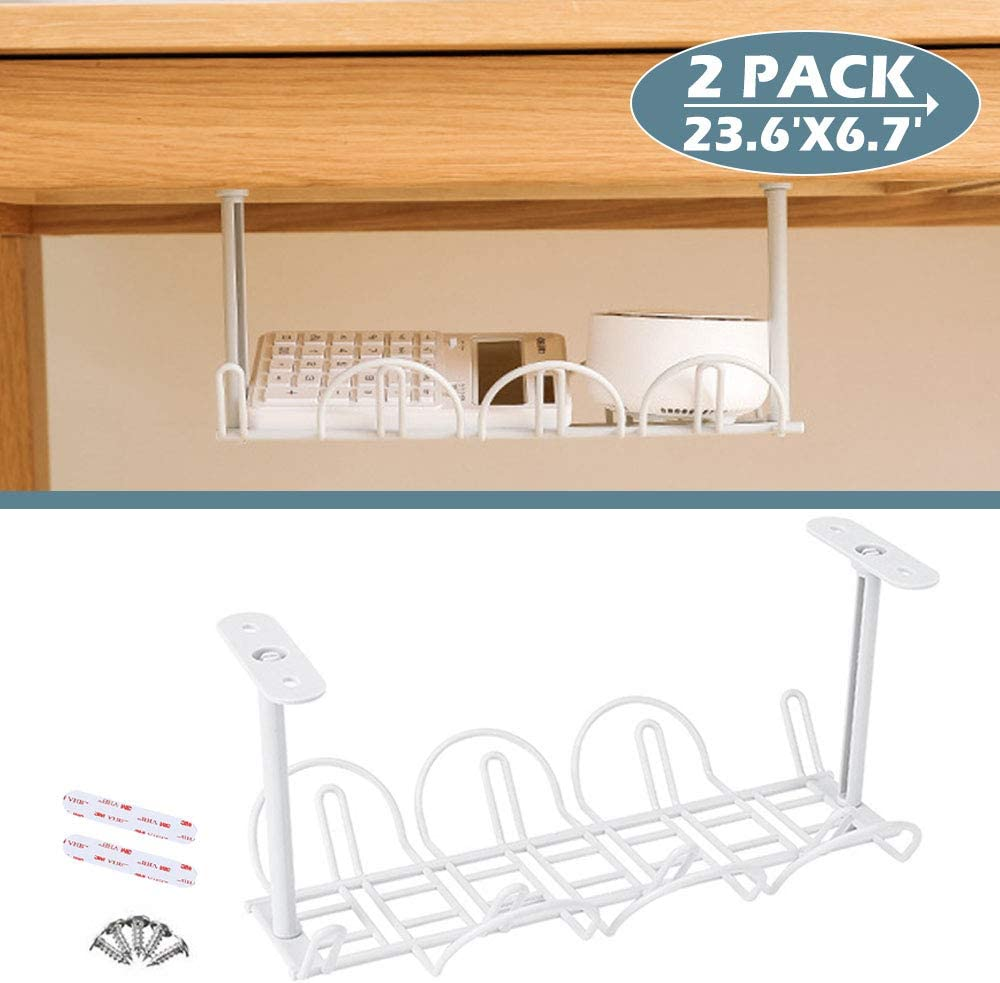 Under Desk Cable Management 42 Pack Cable Management Tray Wire Cable Tray  Organizer for Office & Home, White