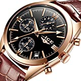 Watches for Men,Chronograph Analog Quartz Wrist Watch Waterproof Casual Luminous Sports Stop Dress Watch Fashion Leather Strap Clock Gold Black Brown