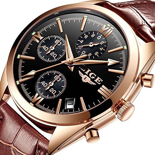 Watches for Men,Chronograph Analog Quartz Wrist Watch Waterproof Casual Luminous Sports Stop Dress Watch Fashion Leather Strap Clock Gold Black Brown
