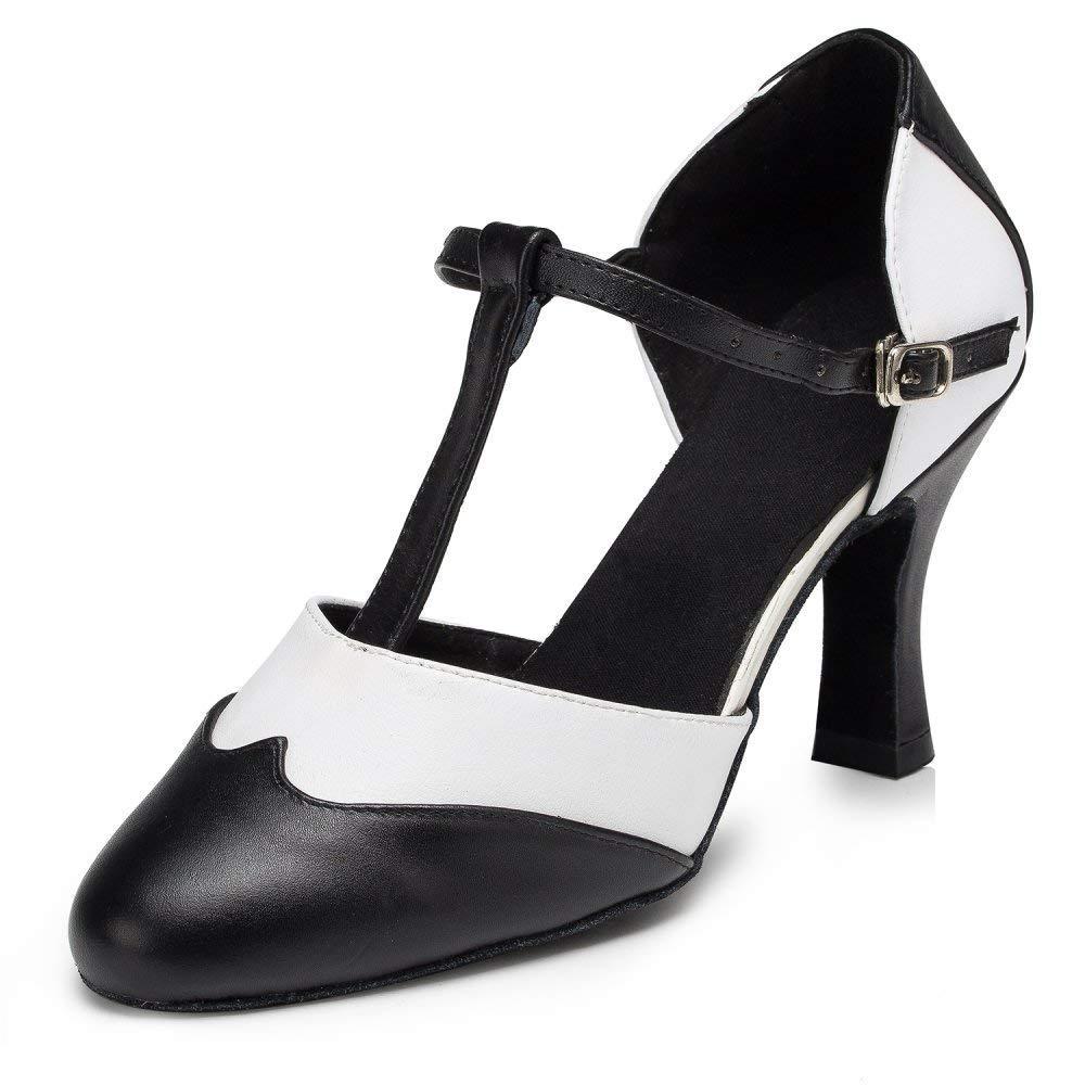 Willsego Damen T-Strap Tanzschuhe Salsa Tango Chacha Samba Modern Jazz Schuhe Sandalen High Heels (Farbe   Indoor 8cm Größe   UK5.5 EU38 Our39)