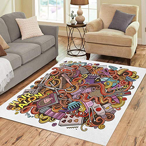 Semtomn Area Rug 5' X 7' Cartoon Cute Doodles Hair Salon Colorful Detailed Lots Funny Home Decor Collection Floor Rugs Carpet for Living Room Bedroom Dining Room
