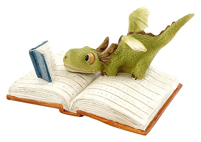Top Collection Miniature Fairy Garden and Terrarium Mini Dragon Reading Figurine