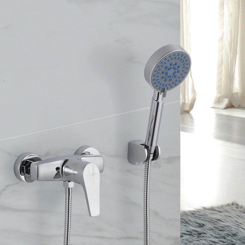 ZHAS Einfache Dusche Alle Bronze einzigen Griff heiße und kalte Mischventil Duschkopf Wasserhahn Anzug