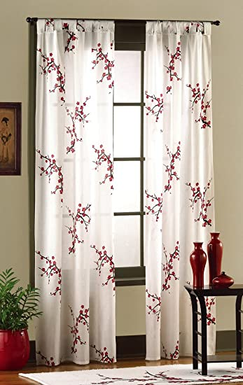 Amazon.com: Asian Bedroom Cherry Blossom Curtain Panel Set By ...