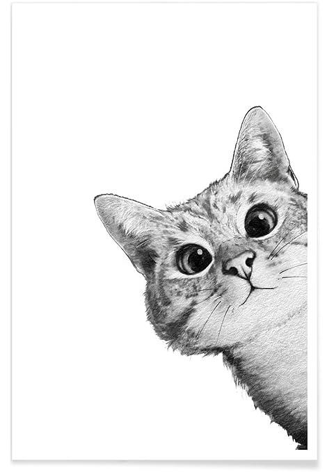 Juniqe posters 40x60cm black white cats design sneaky cat format portrait