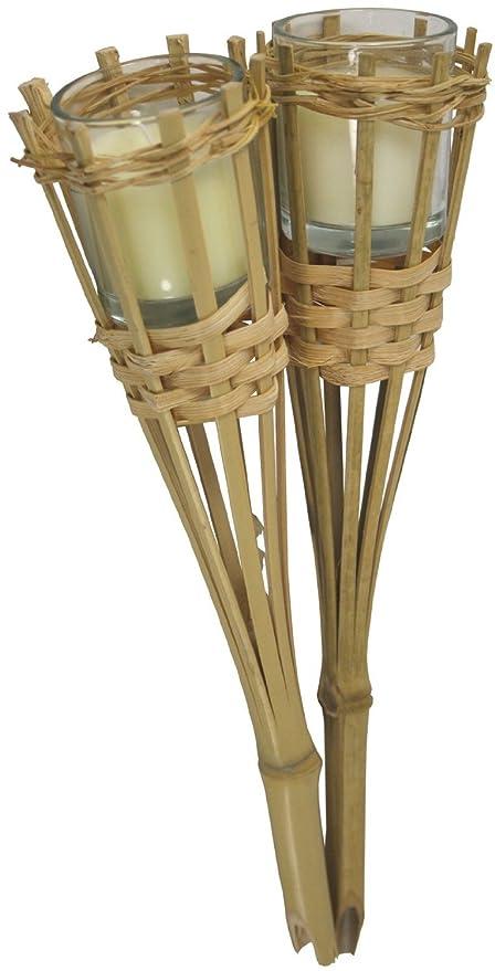 Bambú vela soporte linterna de jardín barbacoa barbacoa playa fiesta boda decoración, 2 unidades