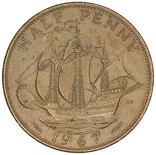 1967 UK Great Britain Elizabeth II Bronze Halfpenny Good