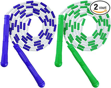 K-Roo Sports 16-Feet Double Dutch Jump Ropes with Plastic Segmentation 2-Pack
