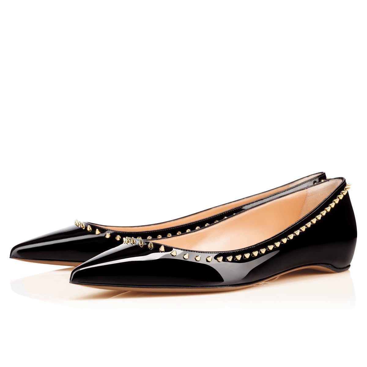 Arc-en-Ciel007 Women's Shoes Studded Patent Leather Flat B07D2HYZMT 5 B(M) US|Black