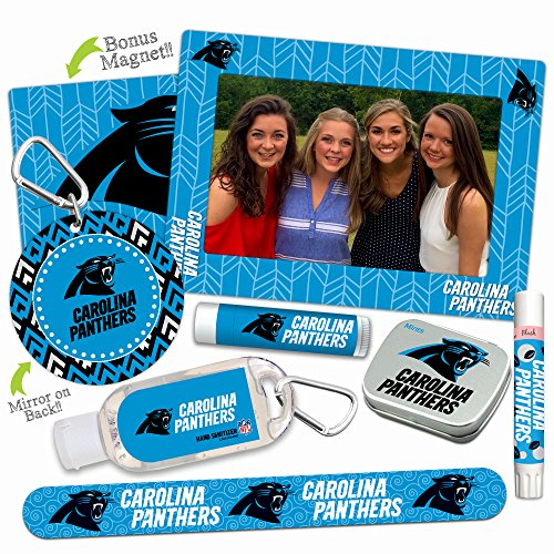Mother's Day Deal—Carolina Panthers Deluxe Variety Set with Nail File, Mint Tin, Mini Mirror, Magnet Frame, Lip Shimmer, Lip Balm, Sanitizer. NFL gifts for women Mother's Day, Stocking Stuffers (Apron Promotional)
