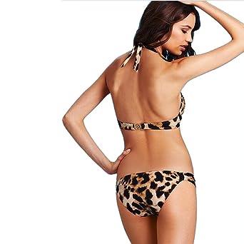 72e7c08b335af AMA 2 Pcs Lady Frauen Mädchen gepolsterte Animal Print Leopard mit Diamant  Push up gepolsterte Low Rise Beach Bikini Set Bademode Badeanzug:  Amazon.de: ...