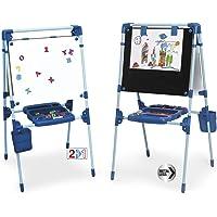 Chicos - Pizarra Infantil 2 en 1: Magnética y de Tiza, Incluye un Rotulador, Tizas de Colores e Imanes de Letras y…